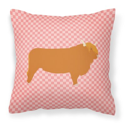 Cow Check Outdoor Throw Pillow Color: Pink