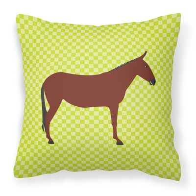 Horse Donkey Check Outdoor Throw Pillow Color: Green