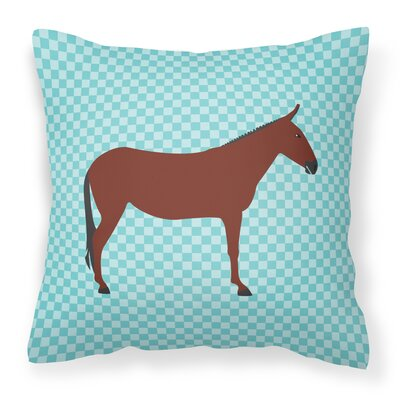 Horse Donkey Check Outdoor Throw Pillow Color: Blue