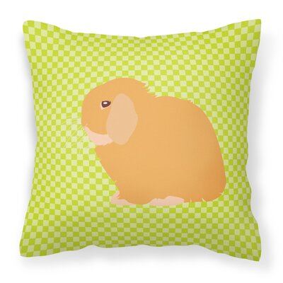 Eclectic Rabbit Check Square Outdoor Throw Pillow Color: Green