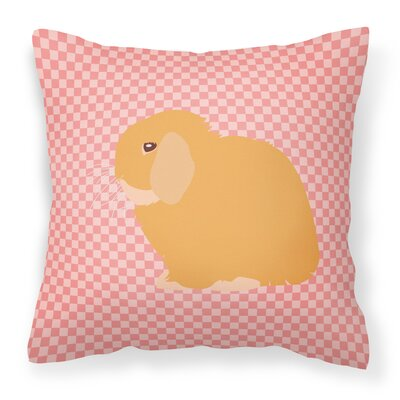 Eclectic Rabbit Check Square Outdoor Throw Pillow Color: Pink