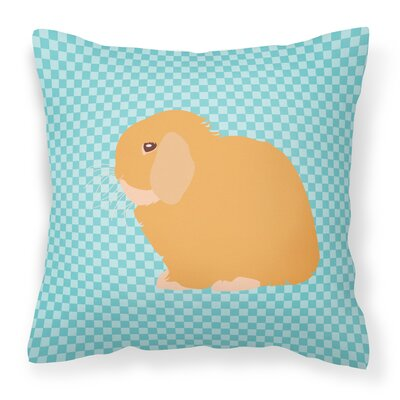 Eclectic Rabbit Check Square Outdoor Throw Pillow Color: Blue