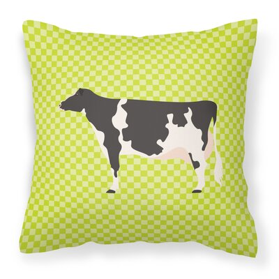 Eclectic Cow Check Outdoor Throw Pillow Color: Green