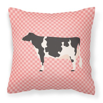 Eclectic Cow Check Outdoor Throw Pillow Color: Pink