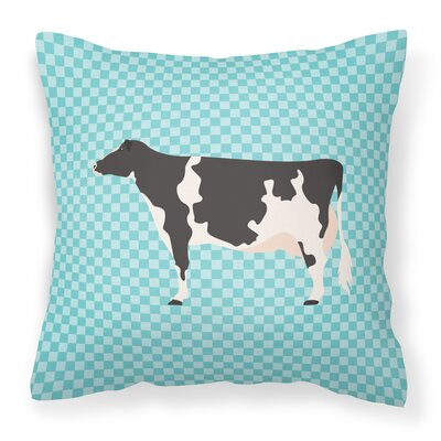 Eclectic Cow Check Outdoor Throw Pillow Color: Blue