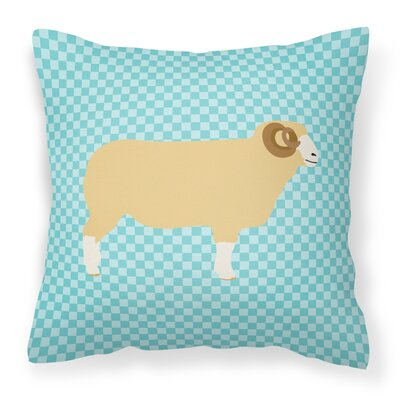Eclectic Sheep Check Outdoor Throw Pillow Color: Blue