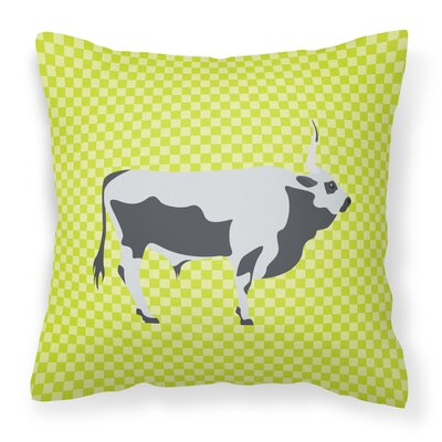 Steppe Cow Check Outdoor Throw Pillow Color: Green
