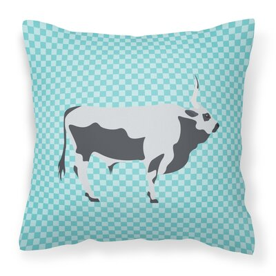 Steppe Cow Check Outdoor Throw Pillow Color: Blue