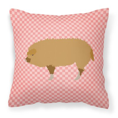 Pig Check Fabric Outdoor Throw Pillow Color: Pink