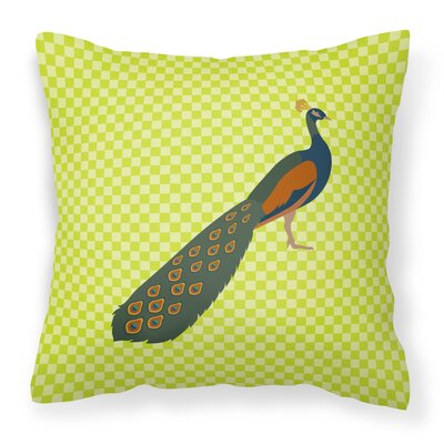 Peacock Peafowl Check Outdoor Throw Pillow Color: Green