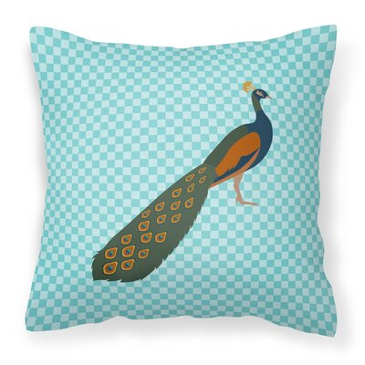 Peacock Peafowl Check Outdoor Throw Pillow Color: Blue