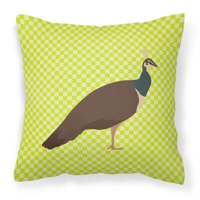 Peahen Peafowl Check Outdoor Throw Pillow Color: Green