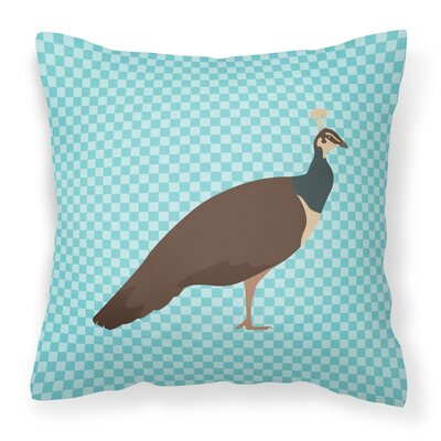 Peahen Peafowl Check Outdoor Throw Pillow Color: Blue