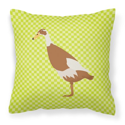 Runner Duck Check Outdoor Throw Pillow Color: Green