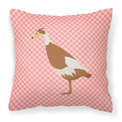 Runner Duck Check Outdoor Throw Pillow Color: Pink