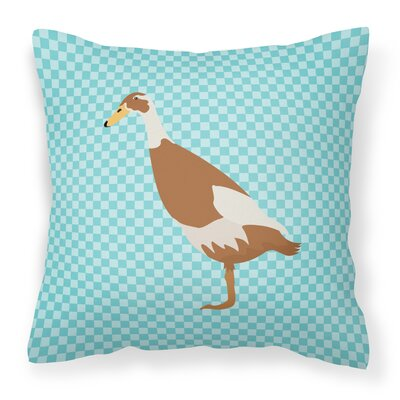 Runner Duck Check Outdoor Throw Pillow Color: Blue