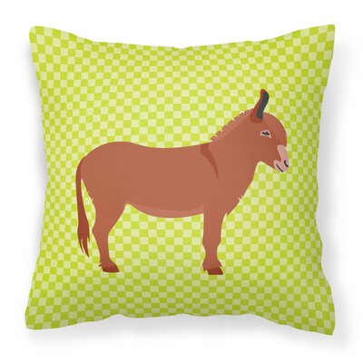 Donkey Check Fabric Outdoor Throw Pillow Color: Green
