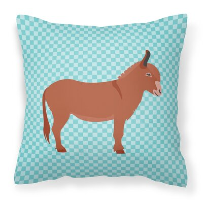 Donkey Check Fabric Outdoor Throw Pillow Color: Blue