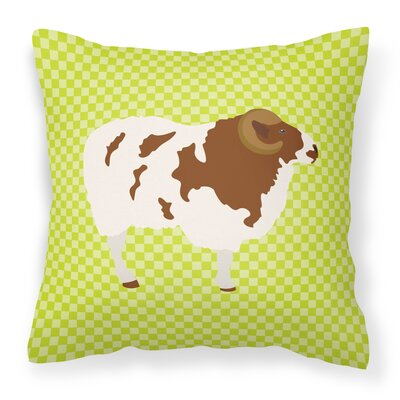 Sheep Check Square Canvas Outdoor Throw Pillow Color: Green