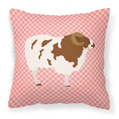 Sheep Check Square Canvas Outdoor Throw Pillow Color: Pink