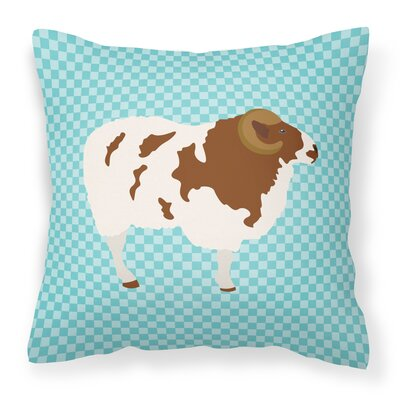 Sheep Check Square Canvas Outdoor Throw Pillow Color: Blue