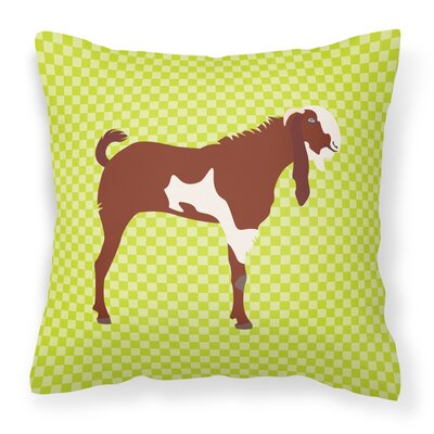 Eclectic Goat Check Outdoor Throw Pillow Color: Green