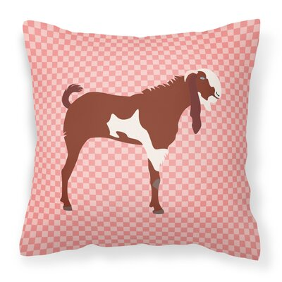 Eclectic Goat Check Outdoor Throw Pillow Color: Pink