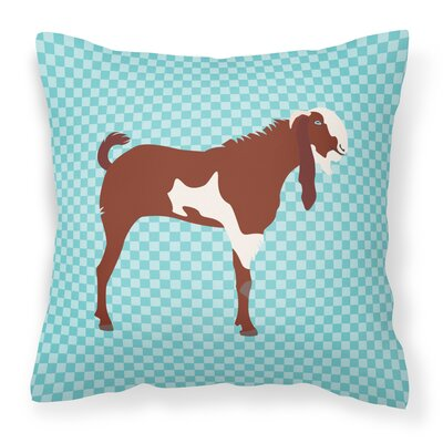 Eclectic Goat Check Outdoor Throw Pillow Color: Blue