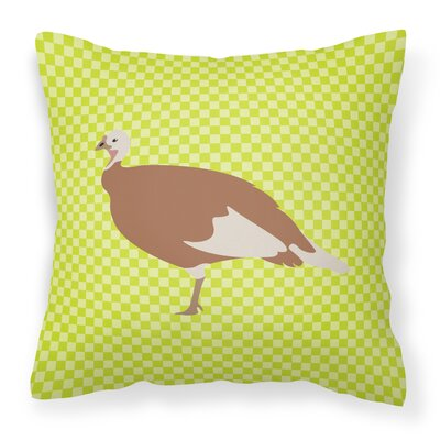 Hen Check Outdoor Throw Pillow Color: Green
