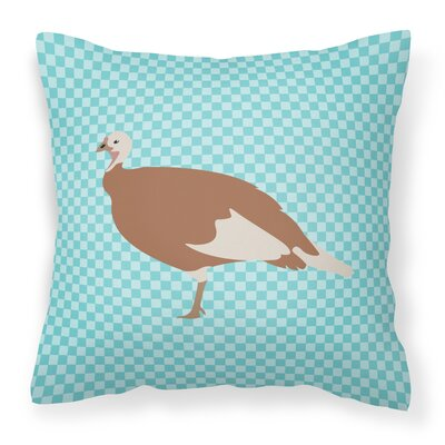 Hen Check Outdoor Throw Pillow Color: Blue
