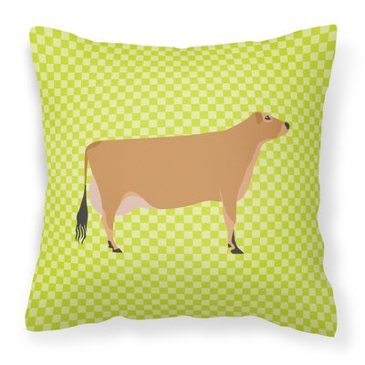 Eclectic Cow Check Square Fabric Outdoor Throw Pillow Color: Green
