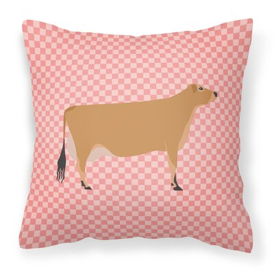 Eclectic Cow Check Square Fabric Outdoor Throw Pillow Color: Pink