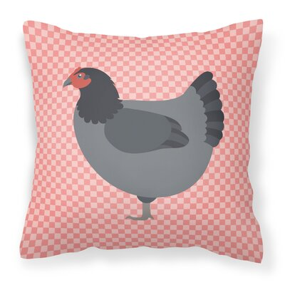 Graphic Print Chicken Check Outdoor Throw Pillow Color: Pink