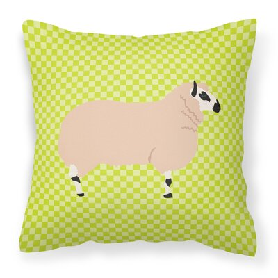 Eclectic Sheep Check Fabric Outdoor Throw Pillow Color: Green