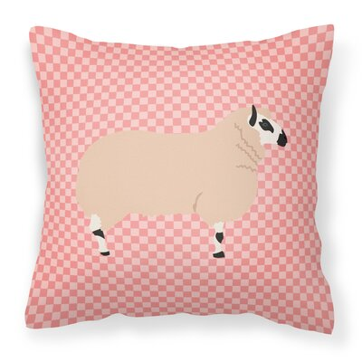 Eclectic Sheep Check Fabric Outdoor Throw Pillow Color: Pink