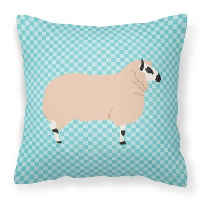 Eclectic Sheep Check Fabric Outdoor Throw Pillow Color: Blue