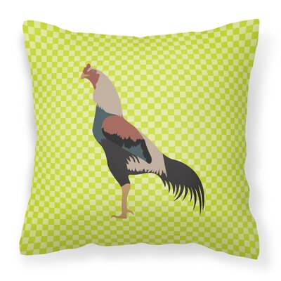 Chicken Check Square Canvas Outdoor Throw Pillow Color: Green
