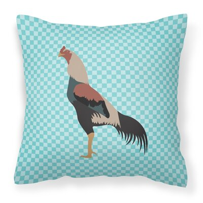 Chicken Check Square Canvas Outdoor Throw Pillow Color: Blue