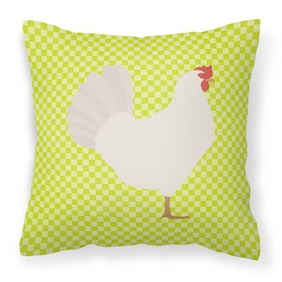 Eclectic Chicken Check Square Fabric Outdoor Throw Pillow Color: Green