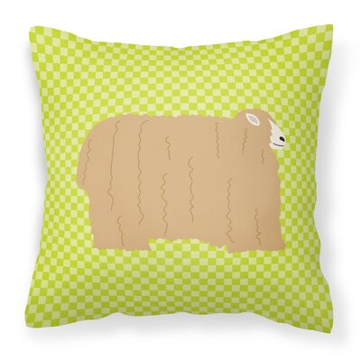 Eclectic Sheep Check Square Outdoor Throw Pillow Color: Green