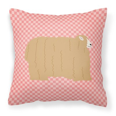 Eclectic Sheep Check Square Outdoor Throw Pillow Color: Pink