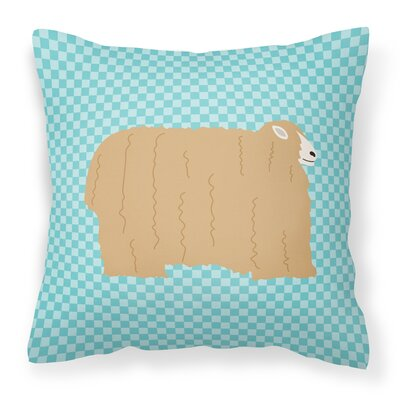 Eclectic Sheep Check Square Outdoor Throw Pillow Color: Blue