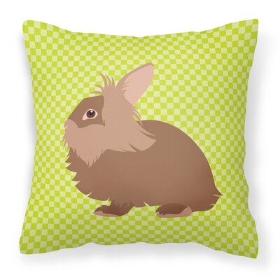Rabbit Check Square Outdoor Throw Pillow Color: Green