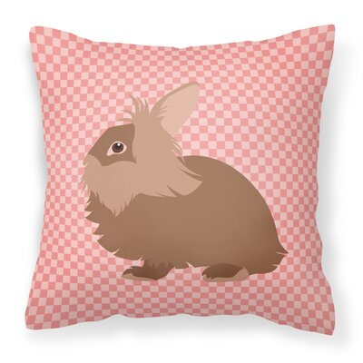 Rabbit Check Square Outdoor Throw Pillow Color: Pink