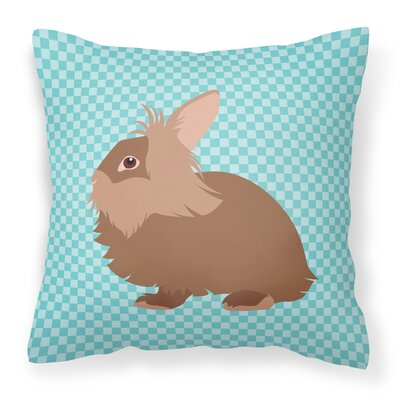 Rabbit Check Square Outdoor Throw Pillow Color: Blue