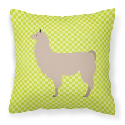 Llama Check Square Outdoor Throw Pillow Color: Green