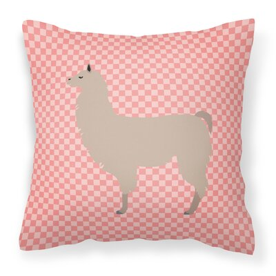 Llama Check Square Outdoor Throw Pillow Color: Pink