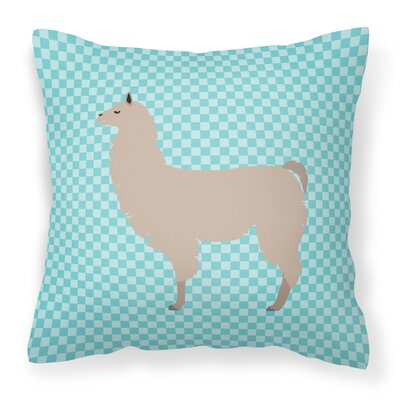 Llama Check Square Outdoor Throw Pillow Color: Blue