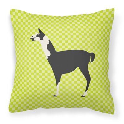 Llama Check Outdoor Throw Pillow Color: Green