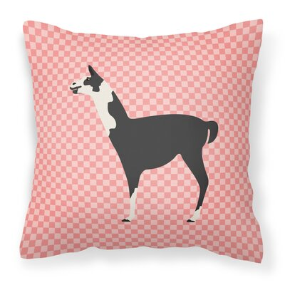 Llama Check Outdoor Throw Pillow Color: Pink